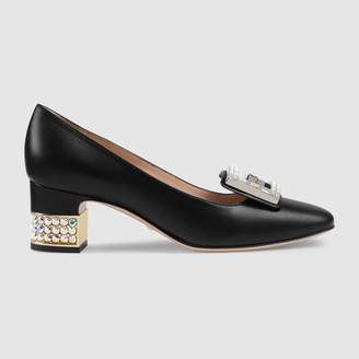 Gucci Leather mid-heel pump with crystalG