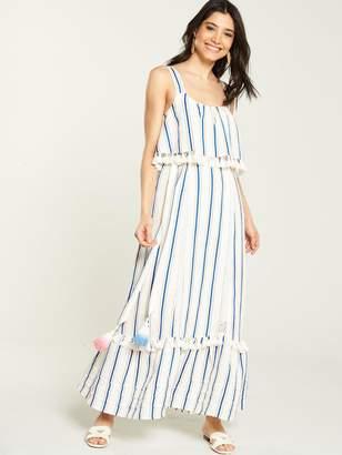 Very Tie Waist Linen Maxi Dress - Stripe