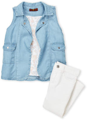 7 For All Mankind Toddler Girls) 3-Piece Chambray Vest & White Jeans Set