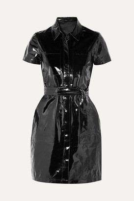 J Brand Lucille Belted Patent-leather Mini Shirt Dress
