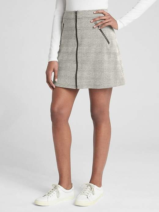 Plaid Zip-Front Mini Skirt