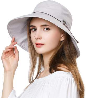 9c558f26 Comhats Summer Sun Hats for Women Bucket Travel Fishing Safari Beach Hat  Foldable Cotton SPF Grey