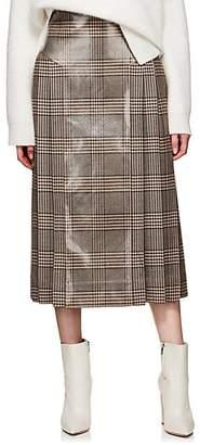 Fendi Women's Coated Plaid Wool Tweed Skirt - Brown