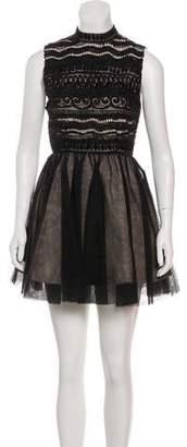 Alice + Olivia Embellished Mesh Dress