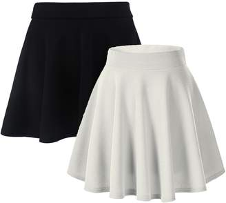 Moxeay Women's Basic A Line Pleated Circle Stretchy Fla Skater Skirt
