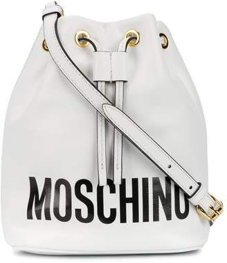 Moschino logo print bucket bag