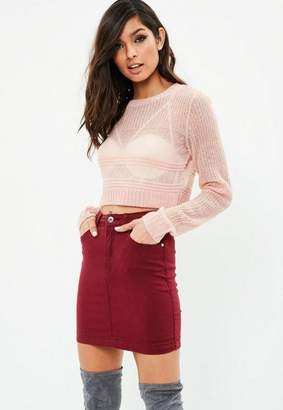 Missguided Blush Cropped Sheer Multi Stitch Sweater