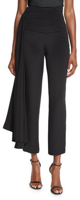 Brandon Maxwell Cropped Side-Sash Pants, Black $2,300 thestylecure.com