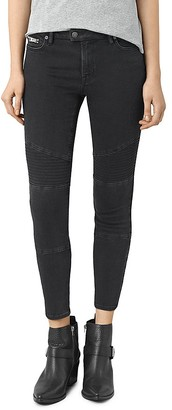 ALLSAINTS Moto Skinny Ankle Jeans in Washed Black $178 thestylecure.com