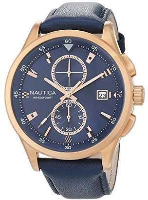 Nautica Men's 'NCT 19 Flags' Quartz Stainless Steel and Leather Casual Watch