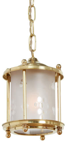 Rejuvenation Brass Colonial Revival Entry Pendant w/ Wheel Cut Shade