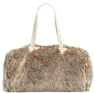 Nordstrom At Home Cuddle Up Faux Fur Duffel Bag - Ivory $89 thestylecure.com