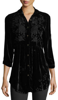 Johnny Was Roberta Velvet Smocked Blouse, Plus Size