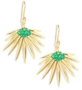 Annette Ferdinandsen Emerald 18K Gold Fan Palm Earrings