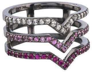 Paige Novick 14K Pink Sapphire & Diamond 3 Bar Kiss Ring