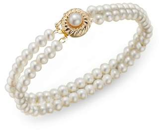 Bloomingdale's Cultured Freshwater Pearl Two Row Bracelet in 14K Yellow Gold