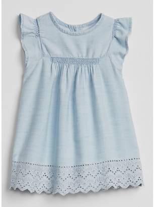 Gap Wearlight Eyelet Denim Dress
