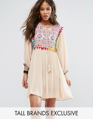 Glamorous Tall Pom Pom Mirror Embroidered Swing Dress $58 thestylecure.com