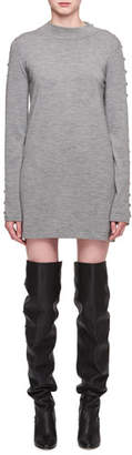 Chloé Mock-Neck Long-Sleeve Merino Wool Tunic Dress