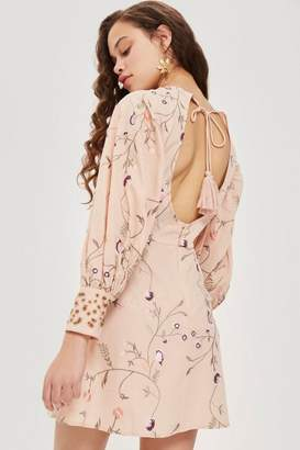 Topshop Embroidered Floral Print Dress