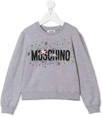 Moschino Kids stars and planet logo print sweatshirt