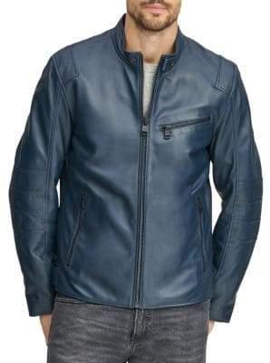 Andrew Marc Men's Weston Leather Moto Jacket - Navy - Size XL
