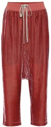 Rick Owens Cropped velvet trackpants