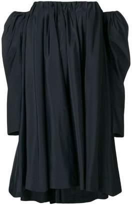 Calvin Klein Ruched silk-blend bardot dress