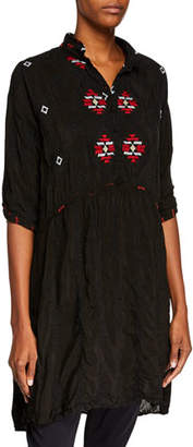 Johnny Was Pocca Half-Sleeve Embroidered Tunic Dress