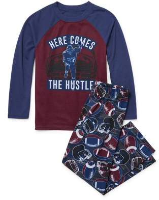 Children's Place The Childrens Place Long Sleeve 'Here Comes The Hustle' Football Pajama 2 Piece Pant Set (Little Boys & Big Boys)