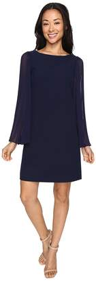 Vince Camuto Crepe Chiffon Shirt Dress w/ Overlay Pleated Sleeves Women's Dress