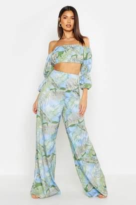 boohoo Tropical Print Wide Leg Trouser