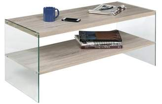 clear OneSpace Escher Skye Coffee Table, Glass and Wood, Light Oak