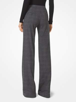Michael Kors Plaid Stretch-Wool Wide-Leg Trousers
