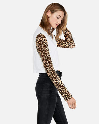 Express One Eleven Leopard Sleeve Boxy Tee