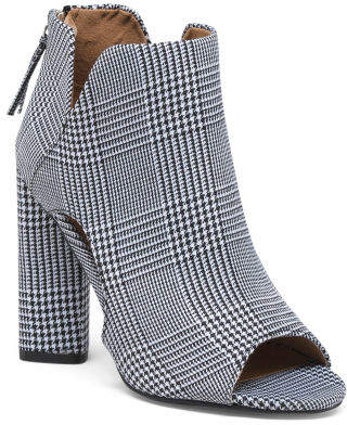 Peep Toe Herringbone Booties