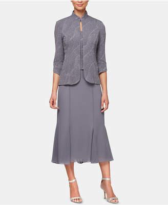 Alex Evenings Glitter-Print Jacket & Midi Dress