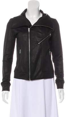 The Kooples Sport Leather-Trimmed Zip-Up Jacket