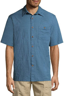 Island Shores Short Sleeve Geometric Button-Front Shirt