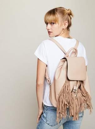 Miss Selfridge Cream fringe backpack