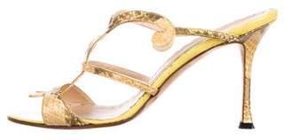 Manolo Blahnik Multistrap Snakeskin Sandals