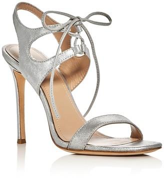 Pour La Victoire Elisa Metallic Lace Up High Heel Sandals $245 thestylecure.com