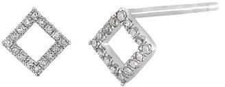 Carriere Sterling Silver Pave Diamond Open Diamond Shape Stud Earrings - 0.10 ctw