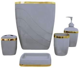 Carnation Home Fashions Slate/Gold 5 Piece Bath Ensemble