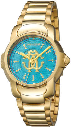 Roberto Cavalli By Franck Muller 41.5mm Yellow Golden Stainless Steel Bracelet Watch, Teal
