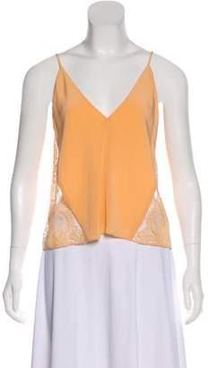 Michelle Mason Silk Lace Trim Sleeveless Top