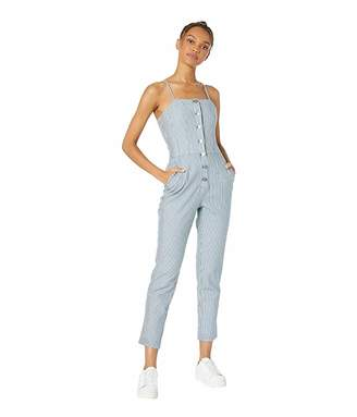 1 STATE 1.STATE Button Front Railroad Stripe Jumpsuit