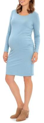 Great Expectations Maternity Long Sleeve Jersey Tee Dress With Side Ruching