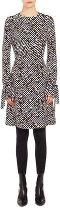 Akris Punto Crossroad Print Silk Dress
