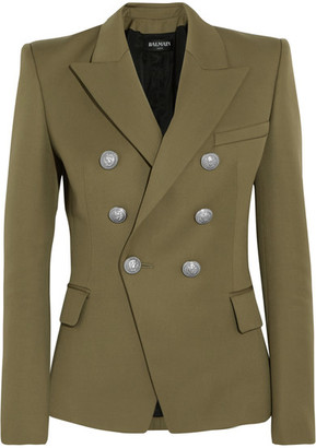 Balmain - Double-breasted Wool Blazer - Army green $1,790 thestylecure.com